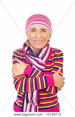 Senior Woman In Pink Knitted Clothes