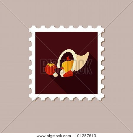 Harvest Cornucopia Flat Stamp With Long Shadow
