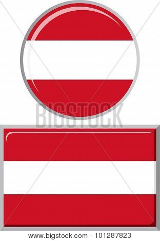 Austrian round and square icon flag. Vector illustration.