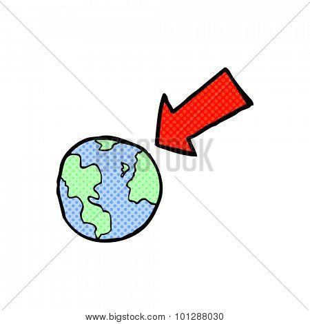 comic book style cartoon arrow pointing at earth