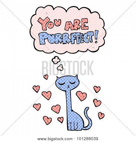 comic book style valentine cat