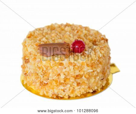 Cake decorated with roasted almonds isolated