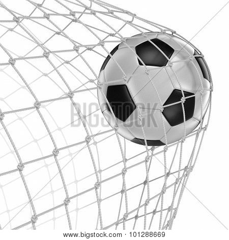 Soccerball in net (clipping path included)