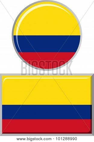Colombian round and square icon flag. Vector illustration.