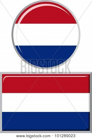 Dutch round and square icon flag. Vector illustration.