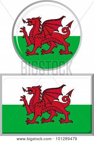 Welsh round and square icon flag. Vector illustration.
