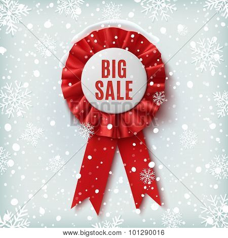 Big sale, realistic red label with ribbons.