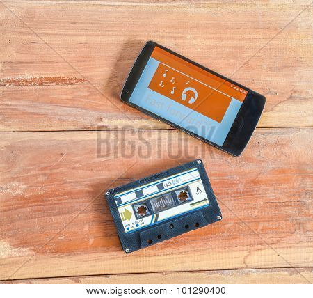Old Cassette Tape And Player Vintage Color Tone