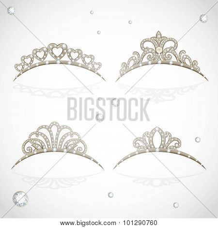 Elegant Shiny Tiara With Precious Stones Isolated On White Background