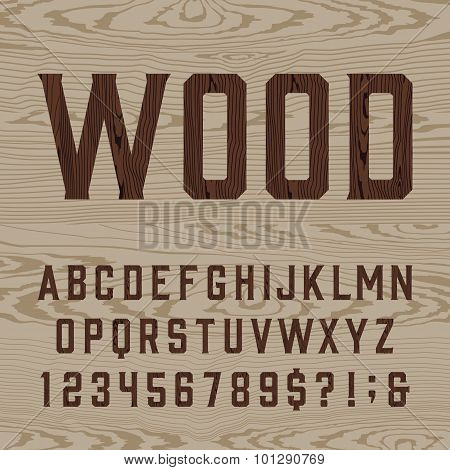 Wooden retro alphabet vector font.