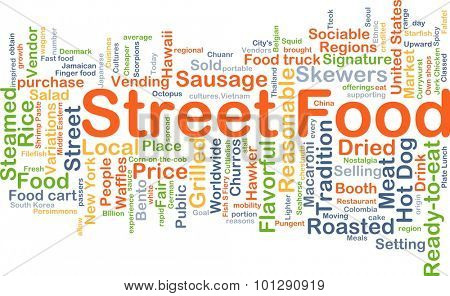 Background concept wordcloud illustration of street food