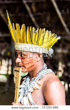 Brazilian Indian showing his ritual in Amazon