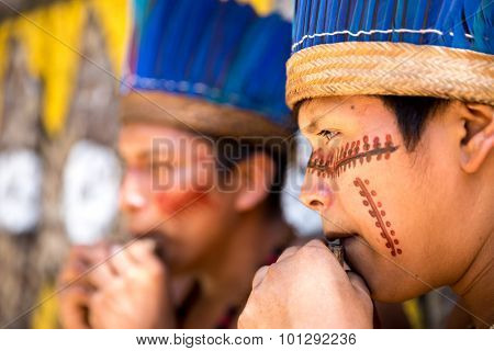 Brazilian Indians showing their ritual in Amazon