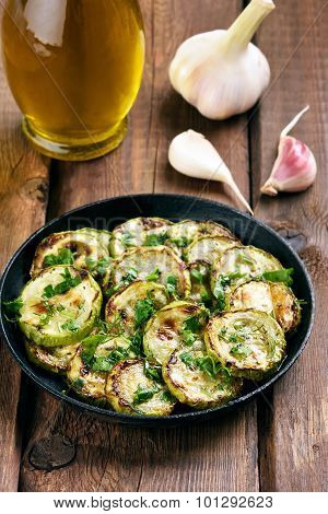 Sauteed Zucchinis In Frying Pan