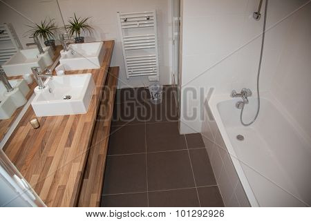 View Of A Spacious And Elegant Bathroom