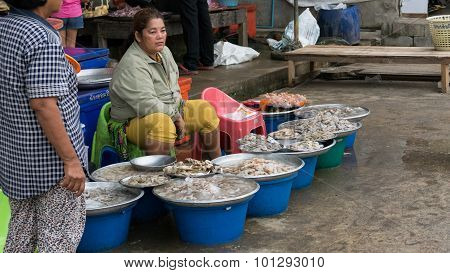 Woman Sell Shrimp In The Local Market