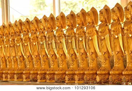 Line Of Brass Goddess Of Mercy Statues