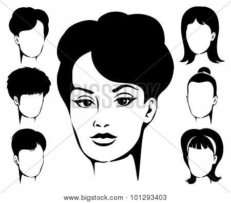 Woman Haircut Emblem Set