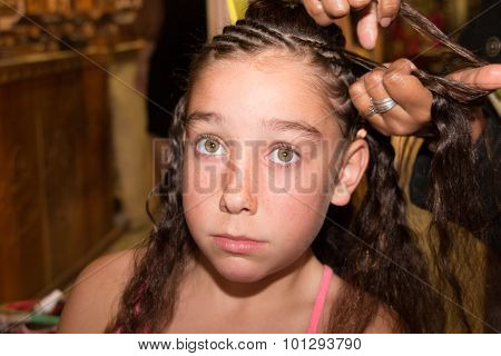 Pretty Young Girl At The Hair Dresser