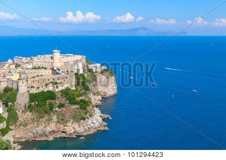 Aragonese-angevine Castle Stands On Rocky Cliff