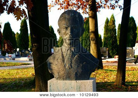 Head stone on a cemetery