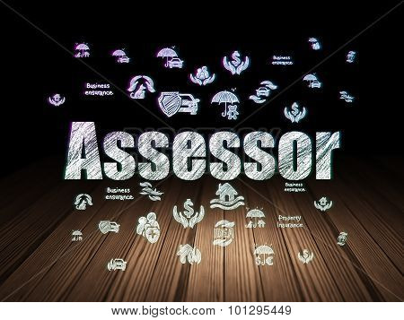 Assessor in grunge dark room