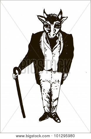 gentleman in a frock coat, waistcoat, gloves and a cane with a bull's head graphic hand drawn