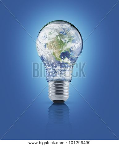 Earth Globe In Light Bulb On Blue Background, Energy Conservation Concept, Elements Of This Image Fu