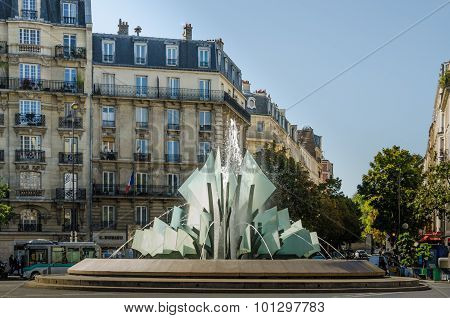 Fountain at Place Gambetta in Paris, France