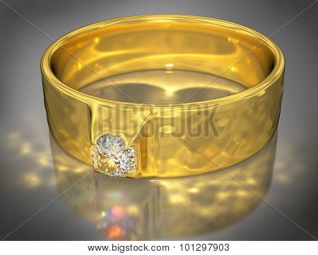 Golden Ring with a Jewel