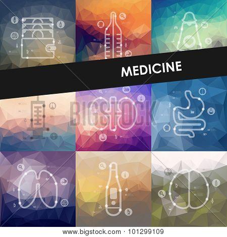 medicine timeline infographics with blurred background