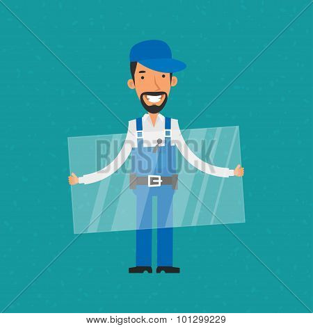 Repairman holding glass and smiling