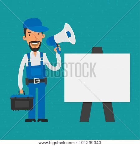 Repairman standing near flip-chart holding megaphone