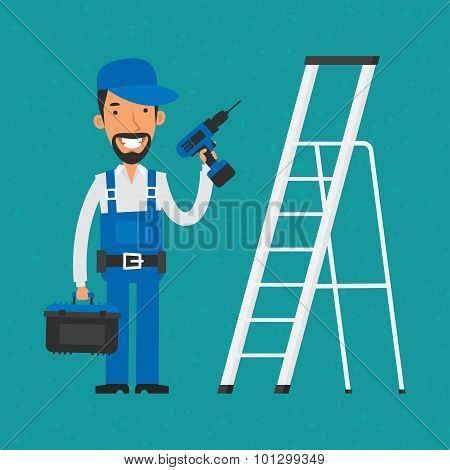 Repairman standing near stairs holding electric screwdriver