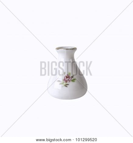 White porcelain flower vase with floral ornament