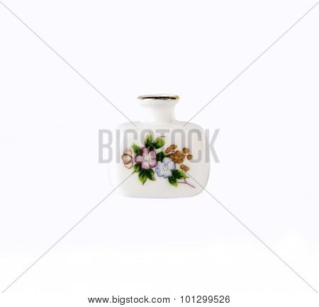 Ceramics porcelain flower vase on white