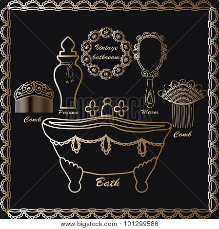 Vintage bathroom icons set Retro poster Vintage elements: vintage bathtub, hair combs,mirror, perfum