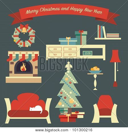 Merry Christmas Illustration With Shelter Living Room