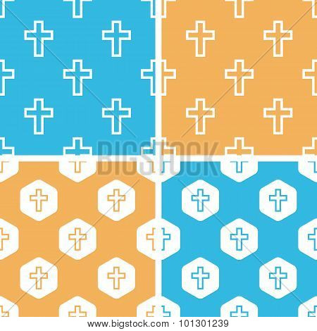 Catholic cross pattern set, colored