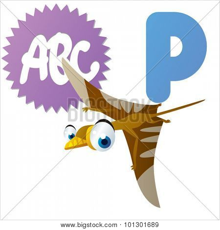 Cartoon cute animals ABC: Dinos: P is for Pterosaur