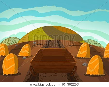 Wooden Cart On The Corn Field