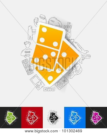domino paper sticker with hand drawn elements