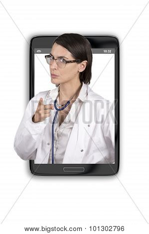 Doctor On Smartphone Screen In A Warning Pose