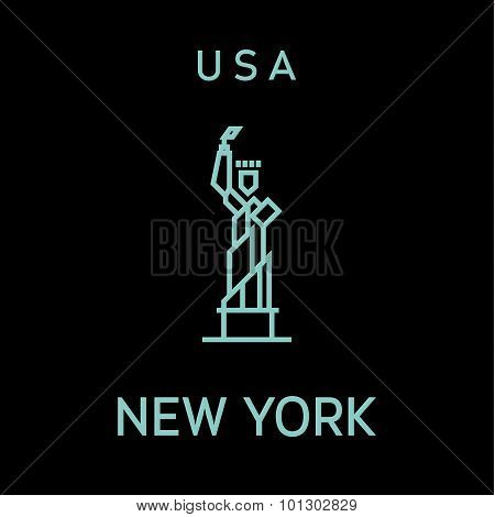 Statue of Liberty outline vector logo into flat style