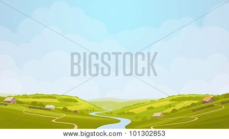 Green Countryside View Illustration.