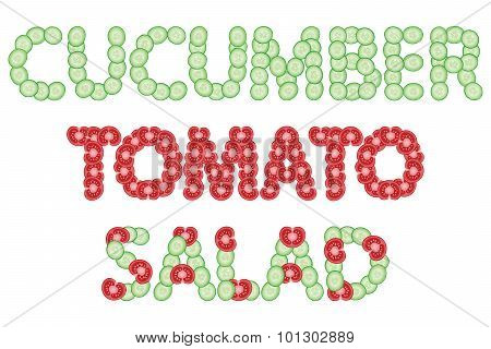 Words made of sliced cucumbers and tomatoes