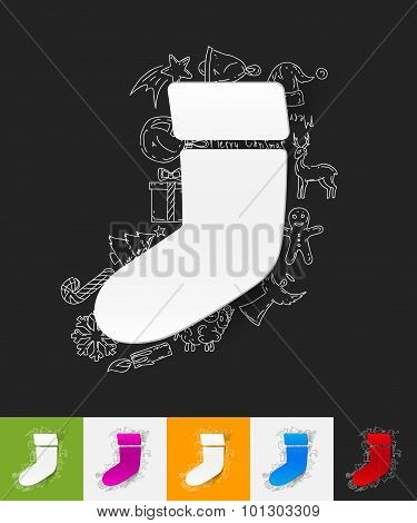 christmas sock paper sticker with hand drawn elements