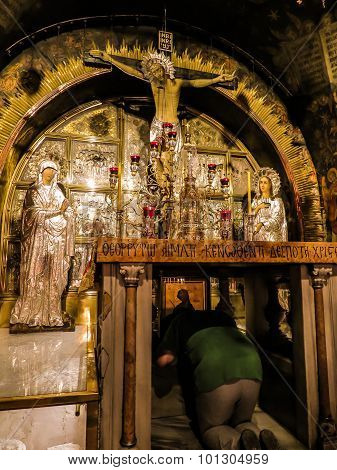 Jerusalem - Juli 15:  Stone Of The Anointing Of Jesus In The Holy Sepulchre, The Holiest Place Of Ch
