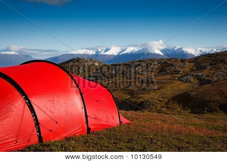 Tent In Mountaineous Terrain