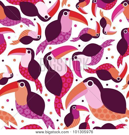 Seamless pink toucan birds tropical summer Brazil jungle animals illustration background pattern in vector